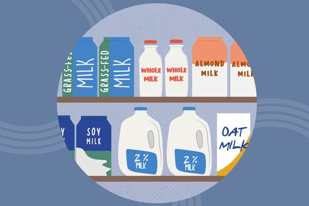 concept illustration of dairy and non-dairy milks on shelves