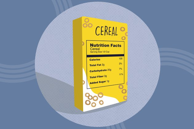 illustration of a nutrition facts label on a cereal box