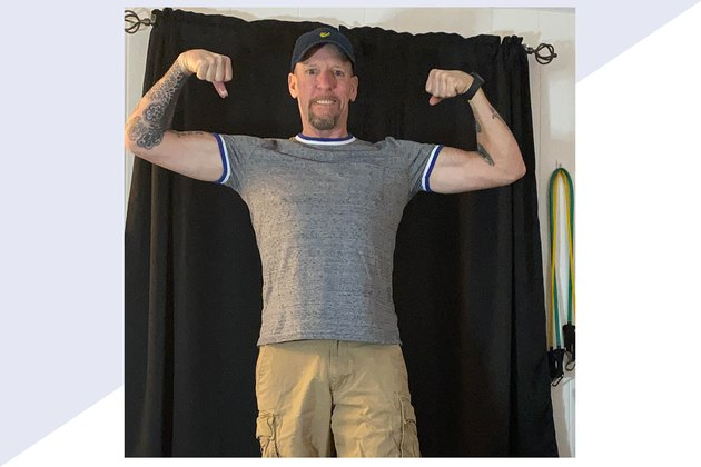 Two photos of Jeffrey Hadley's weight-loss transformation after he lost 100 pounds