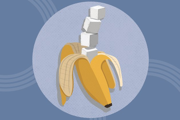 concept illustration of natural sugars found in fruit like bananas