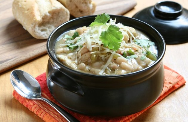 Hearty chicken, vegetable and white bean soup as an example of soup diet recipes