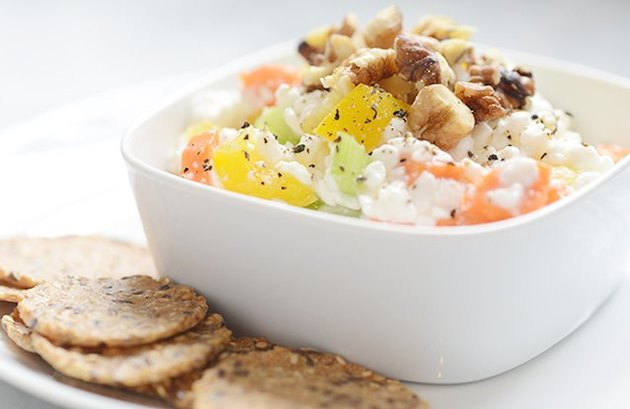 cottage cheese recipes Cheese and Vegetable Spread on Crackers