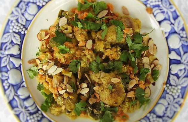 make-ahead freezer meals Curry Coconut Chicken, Red Lentils and Bok Choy (Family-Style)