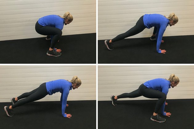Woman demonstrating how to do a half burpee