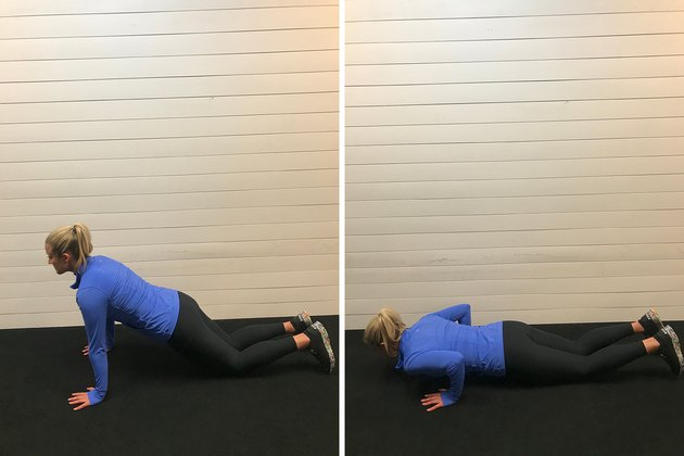 Woman demonstrating how to do a modified push-up