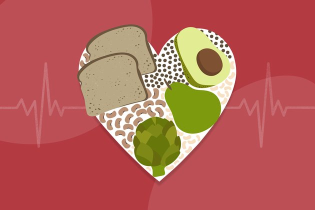 illustration of high-fiber foods in a heart with life line