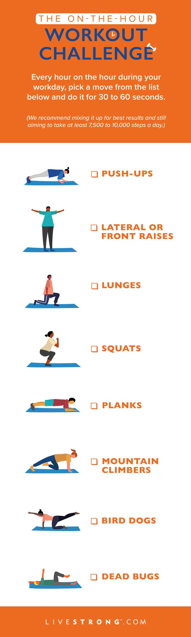 checklist graphic of 8 exercises for the on-the-hour workout challenge