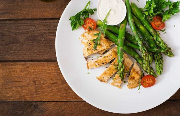Sesame-Crusted Chicken Breast with Pasta and Asparagus 5-Ingredient Pasta Recipe