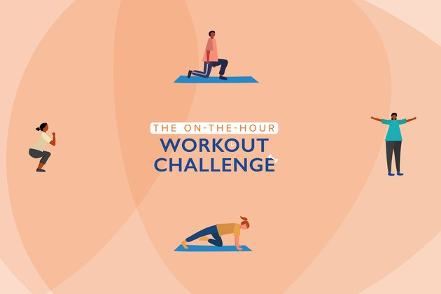 illustration of four people doing at-home exercises for the on-the-hour workout challenge