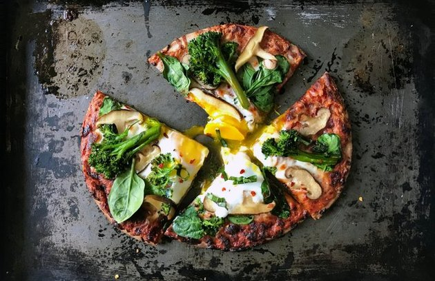 Pizza with Sunny-Side Up Egg, Spinach, Broccolini and Mushrooms Tomato Sauce Recipe