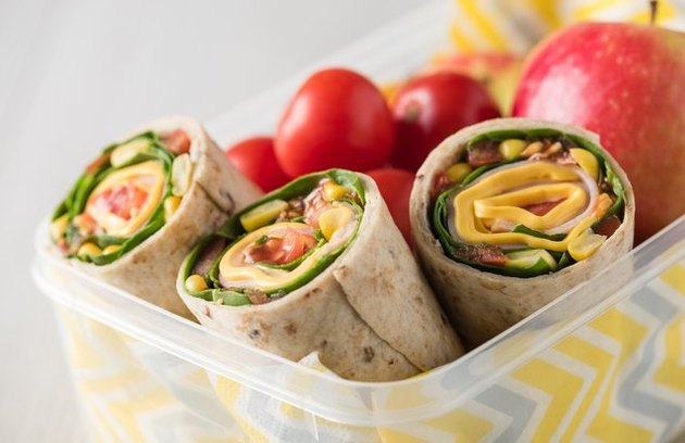 Greens, Fruit, and Chickpea Wrap