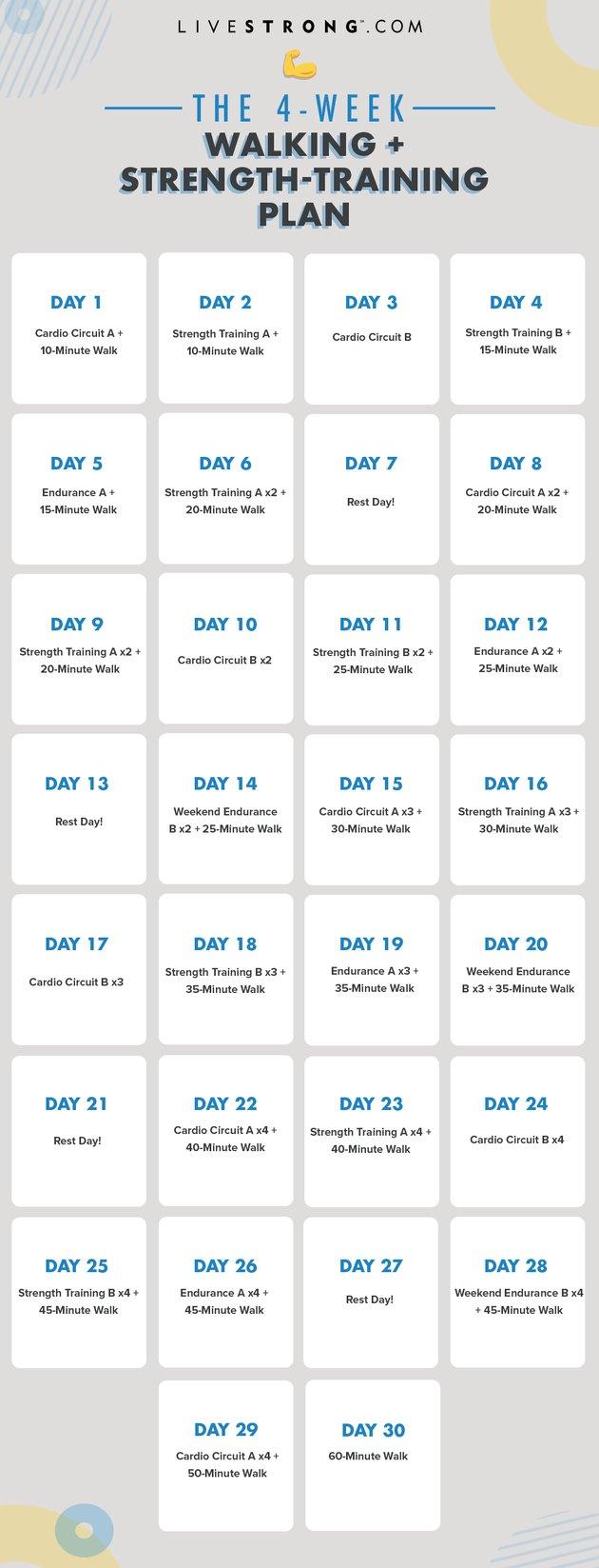 Printable calendar for A 4-Week Walking + Strength-Training Plan to Increase Endurance