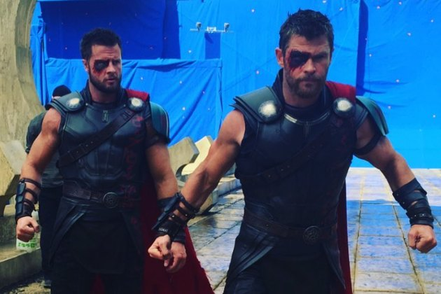 "Chris Hemsworth and stunt double Bobby Holland Hanton on the set of ""Thor: Ragnarock"""