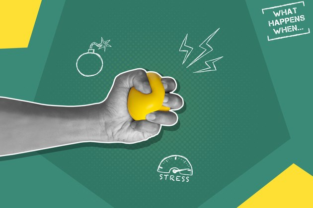 Illustration of stress, including a hand squeezing a stress ball on a green and yellow background