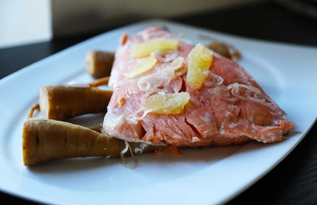 low calorie salmon recipes Slow Cooker Salmon with Lemon and Parsnips