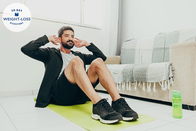 Man working out in his home