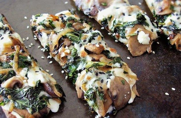 make-ahead freezer meals Kale and Wild Mushroom Flatbread Pizza