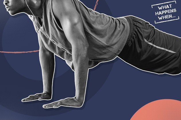 Graphic showing a man doing push-ups