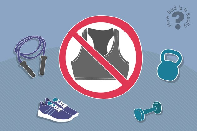 Illustration of exercising without a sports bra