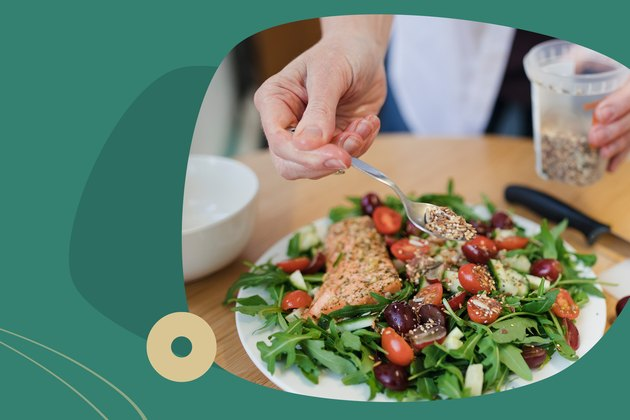 Custom graphic showing hand sprinkling seeds over hearty salad.
