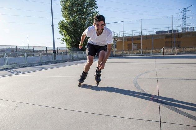 Man Rollerblading outdoors