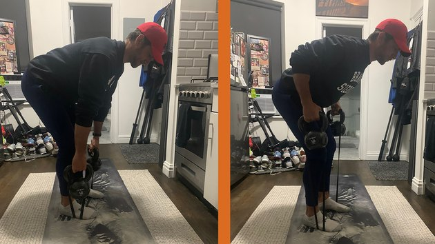Move 2: Bent-Over Banded Kettlebell Row