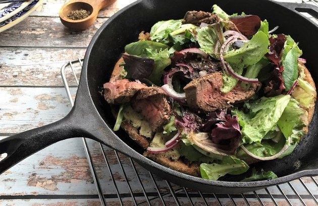Pan-Charred Steakhouse Salad Pizza recipe