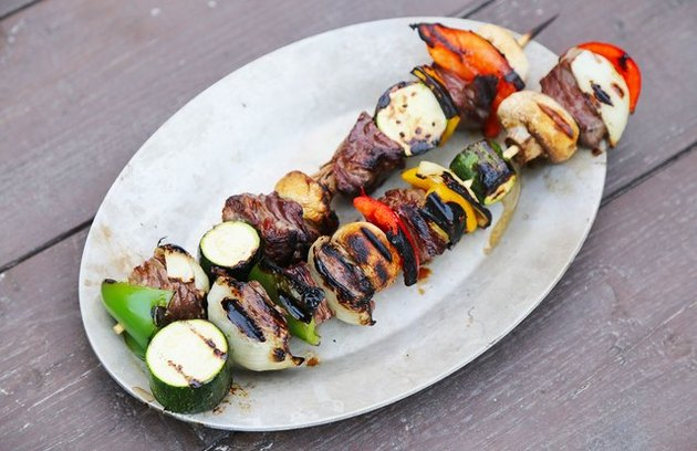 Mushroom and Bell Pepper Beef Kebabs recipe.