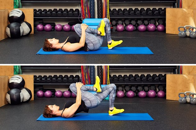 Woman demonstrating how to do single-leg glute bridges
