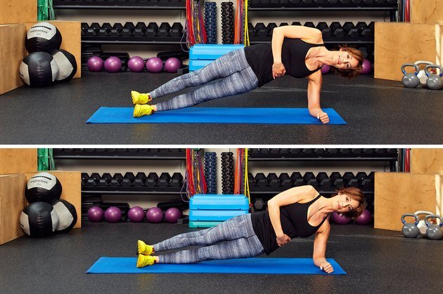 Woman demonstrating how to do hip drops from side plank