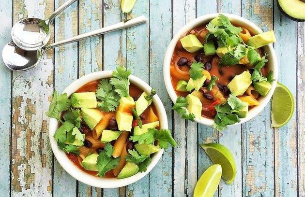 Mexican Tomato, Black Bean and Corn Pasta Soup recipe