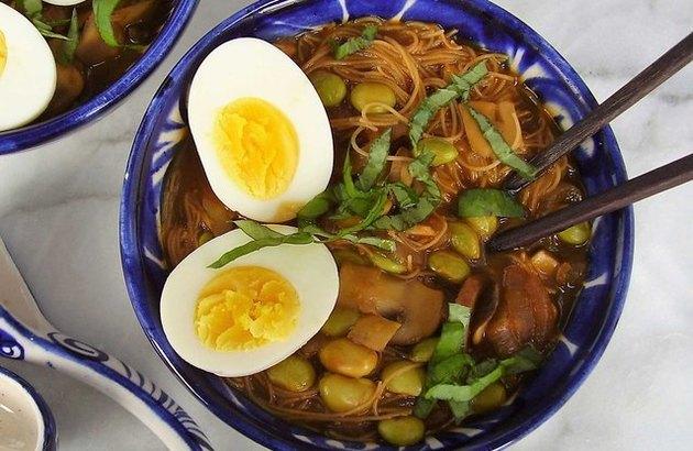 Vietnamese Edamame Pho with Egg and Basil recipe