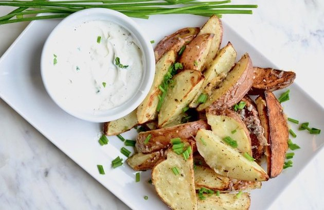 Asiago Roasted Potato Wedges with Sour Cream and Chives recipe