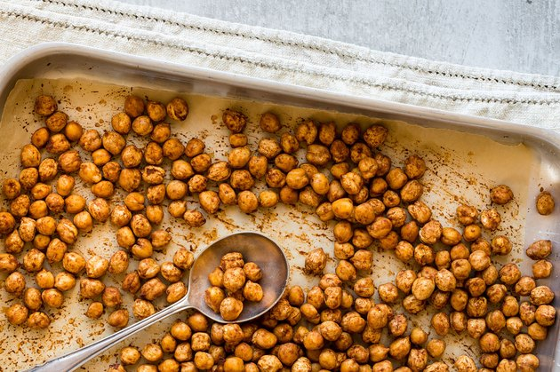 roasted chickpeas on tray