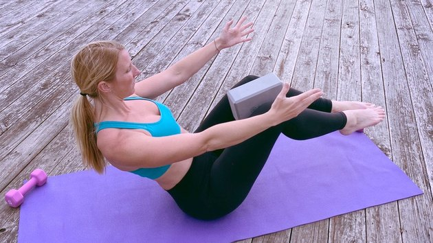 5. Boat Pose With Block