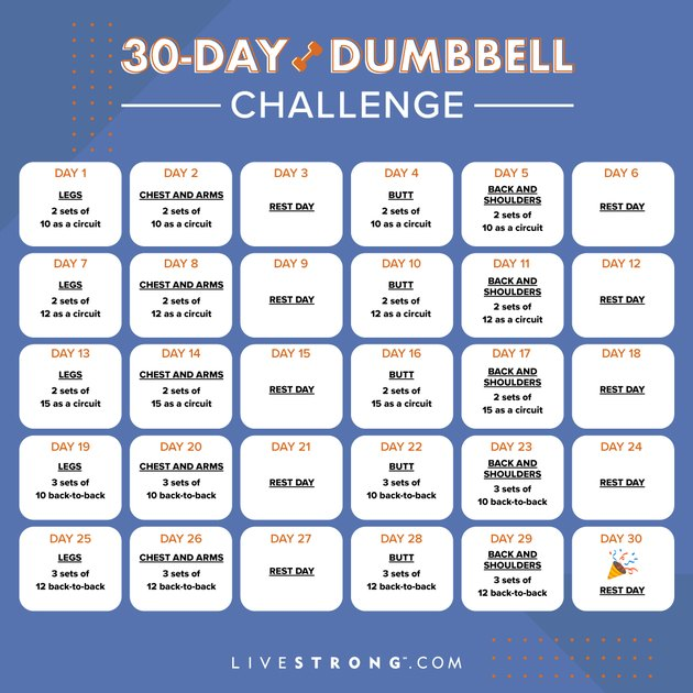 The LIVESTRONG.com 30-Day Dumbbell Challenge Calendar