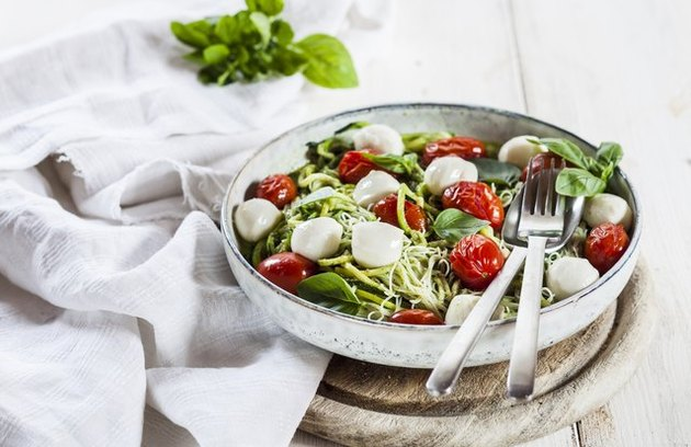"Raw Zucchini Caprese ""Pasta"" oven-free, hydrating dinner recipes"