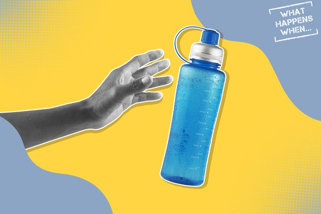 A black and white hand reaching for a water bottle, representing the effects of dehydration