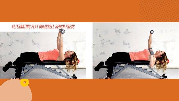 Move 2: Alternating Flat Dumbbell Bench Press