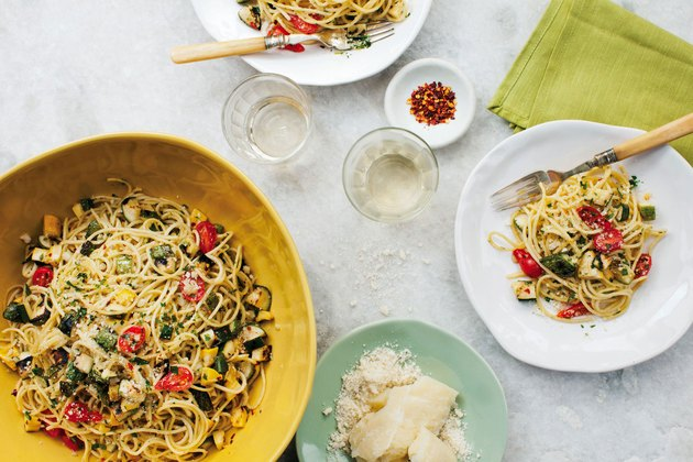 Overhead flat lay of pasta dinner displaying portion size