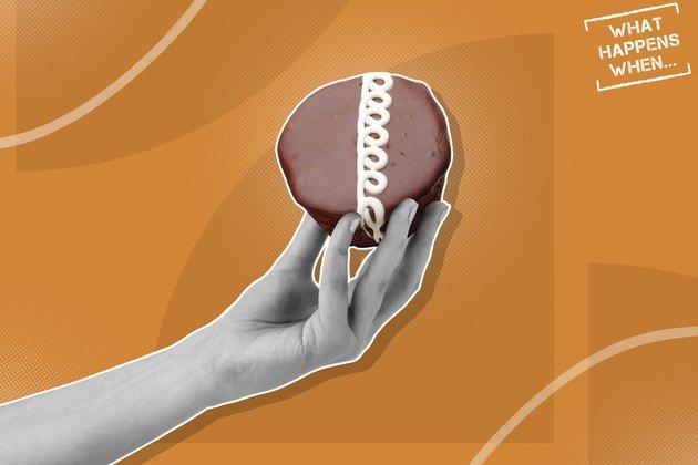 Custom graphic showing hand holding cupcake
