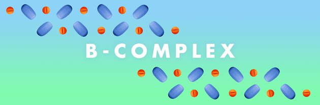B-complex vitamins in a pattern on a blue and green background