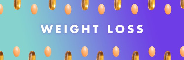 Weight-loss vitamins in a pattern on a blue background