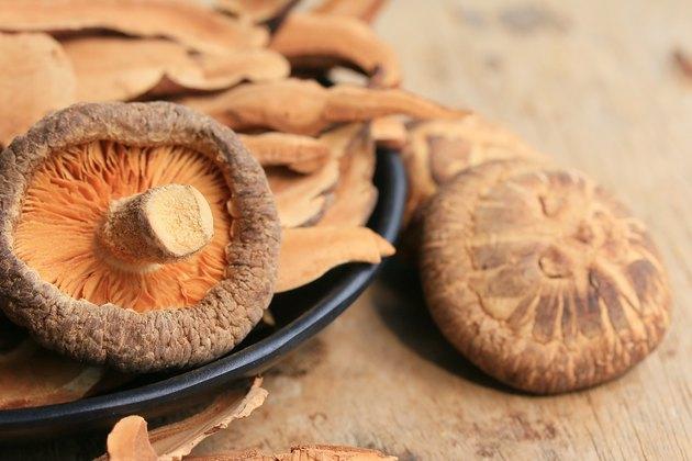 Ganoderma lucidum (Reishi Mushroom) on a wooden table