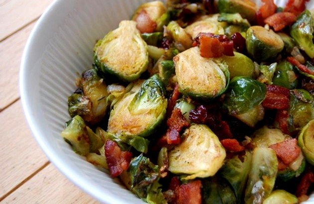 Roasted Brussels sprouts with bacon in a bowl