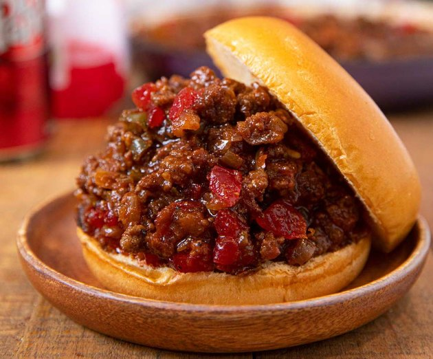 Sloppy Joe meat mixture on a hamburger bun