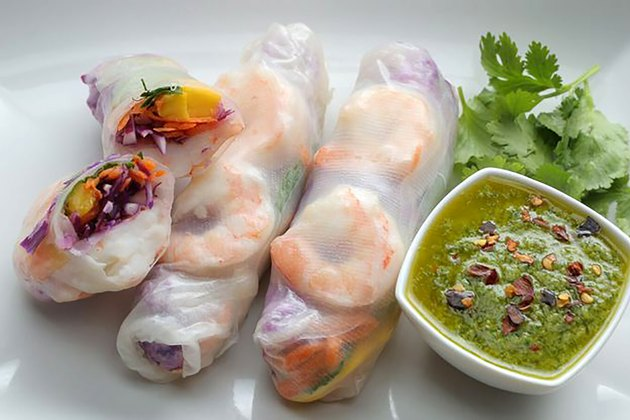 shrimp and mango spring rolls