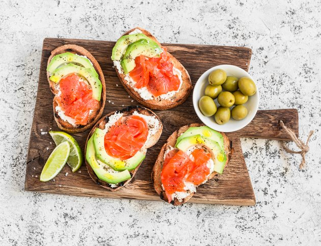 Healthy fats in appetizers made of cream cheese, smoked salmon and avocado