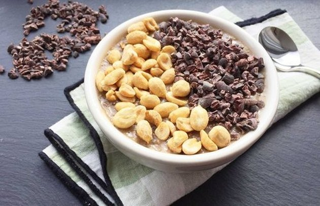Overnight Banana-Chia Breakfast Pudding Bowl with Cacao Nibs and Nuts recipe