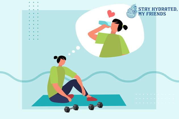 Custom graphic showing person working out on mat, thinking about drinking water